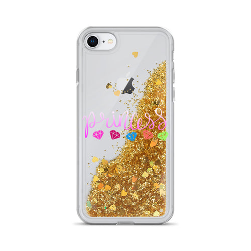Princess and Diamonds, Liquid Glitter iPhone Case