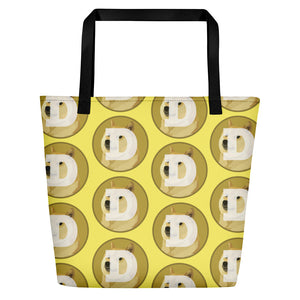 Dogecoin Logo Pattern Yellow, Beach Bag