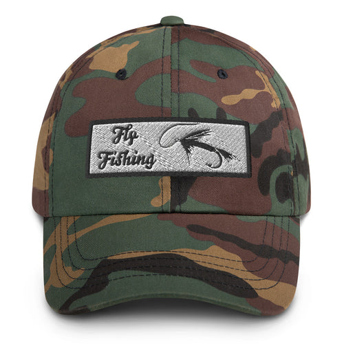 Fly Fishing With Lure Embroidered Dad Hat Green Camo