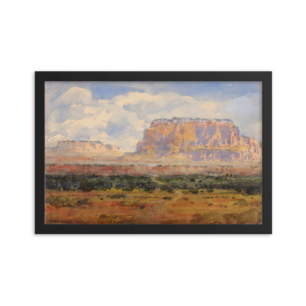 The Enchanted Mesa Painting Watercolor, Framed Premium Photo Paper Poster