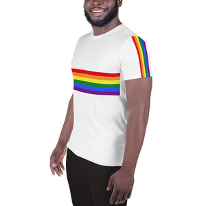 Pride Flag Colors Stripes, Men's Athletic T-shirt White