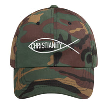 Load image into Gallery viewer, Christian Symbol Ichthys Fish With Christianity Text White, Dad hat