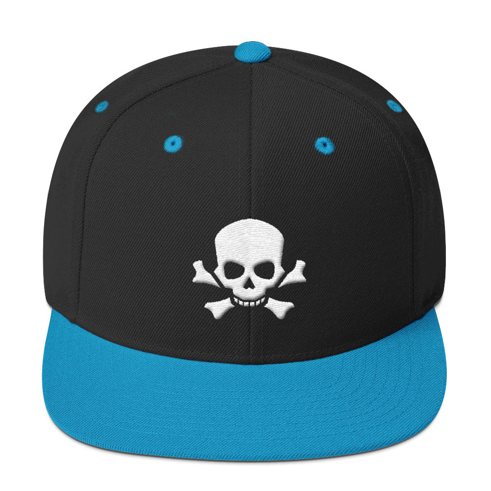 Skull and Bones White 3D Puff, Snapback Hat Cap