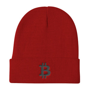 Bitcoin Cryptocurrency Logo Black 3D Puff, Knit Beanie