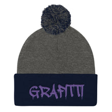 Load image into Gallery viewer, Grafitti Text, Pom Pom Knit Cap
