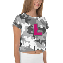 Load image into Gallery viewer, Litecoin LTC Cryptocurrency Symbol, Crop Tee Camouflage