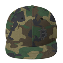 Load image into Gallery viewer, Bitcoin Cryptocurrency Logo Left Hand Side Black, Snapback Hat Camouflage