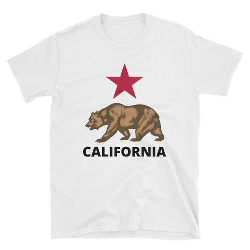 California Flag Bear and Star, Short-Sleeve Unisex T-Shirt