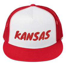 Load image into Gallery viewer, Kansas Text Red, Trucker Cap