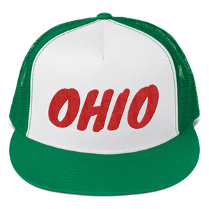 Ohio Text Red, Trucker Cap