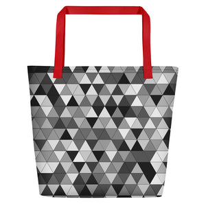 Grayscale Triangle Pattern, Beach Tote Bag