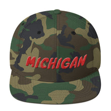 Load image into Gallery viewer, Michigan Text Red 3D Puff, Snapback Hat