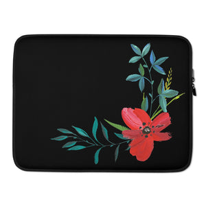 Hand Painted Flowers, Laptop Sleeve Black