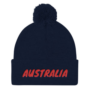Australia Text Red, Pom Pom Knit Cap