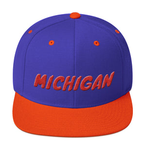 Michigan Text Red 3D Puff, Snapback Hat