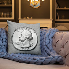 Load image into Gallery viewer, US Washington Quarter Dollar Coin Art Pencil Sketch Style, Premium Pillow