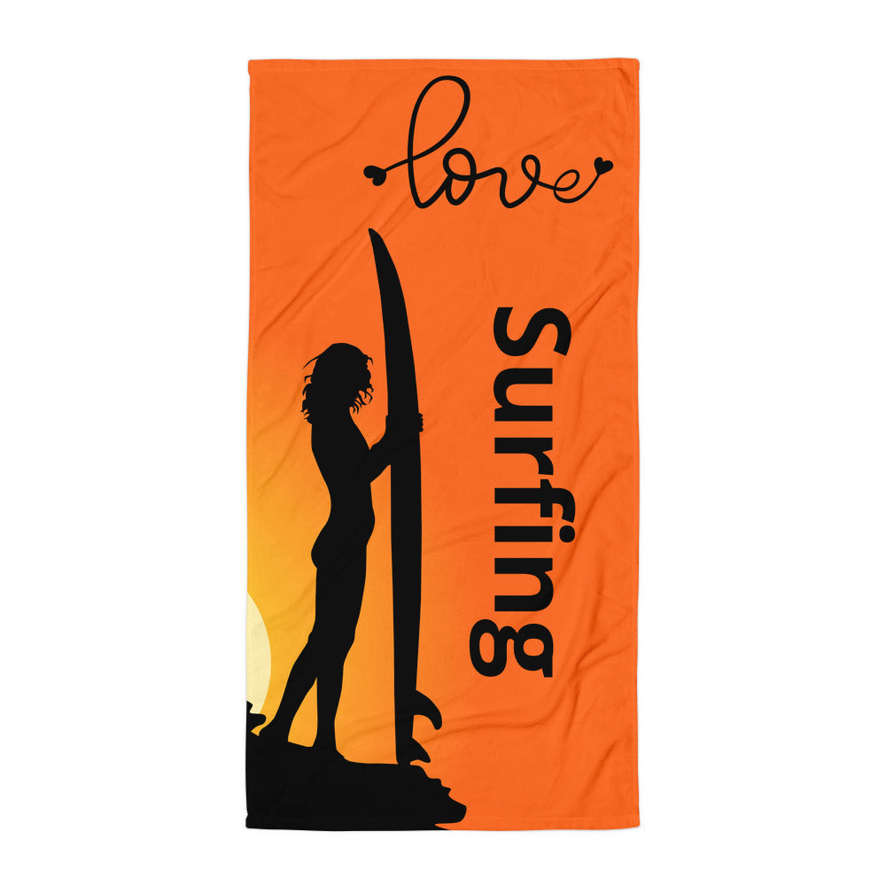 Surfer Babe Love Surfing Text, Beach Towel