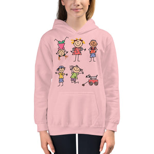 Kids Life Cartoon Style, Kids Hoodie Pink