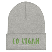 Load image into Gallery viewer, Go Vegan Text Green, Unisex Cuffed Beanie