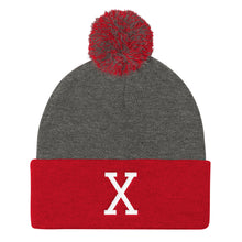 Load image into Gallery viewer, Malcom White Letter X, Pom Pom Knit Cap