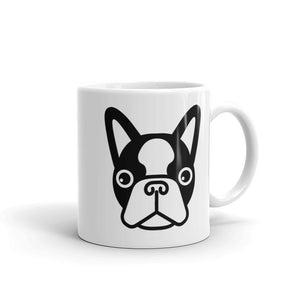 French Bulldog Face White Glossy Coffee Mug 11oz