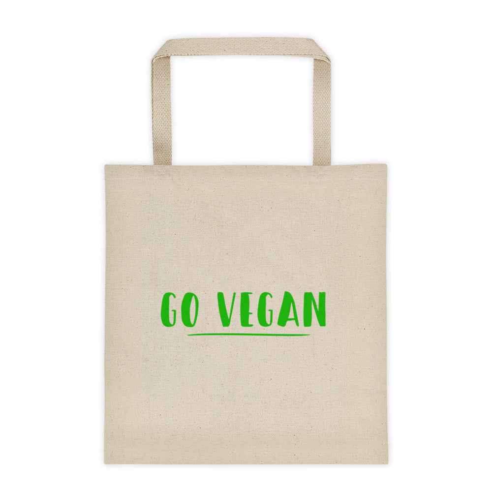 Go Vegan Text Green, Cotton Canvas Tote Bag