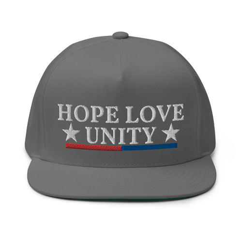 Hope Love Unity 2 Embroidered Flat Bill Cap
