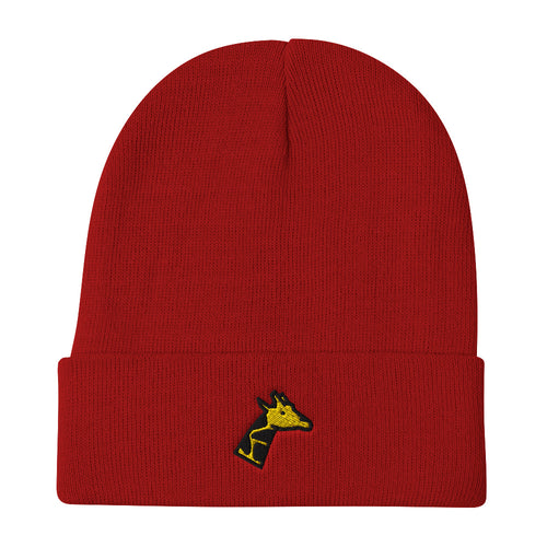 Giraffe Head Embroidered Beanie