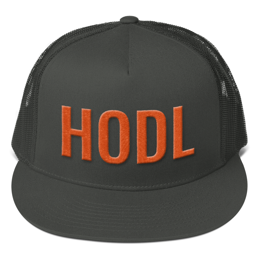 HODL Crypto Currency Adage Text 3D Puff Orange, Mesh Back Snapback Hat CHARCOAL GRAY
