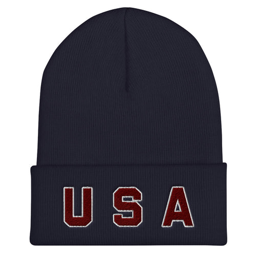 USA Text Embroidered Unisex Cuffed Beanie