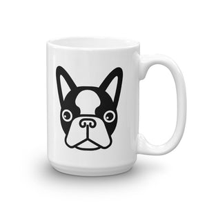 French Bulldog Face White Glossy Coffee Mug 15oz