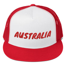 Load image into Gallery viewer, Australia Text Red, Trucker Cap