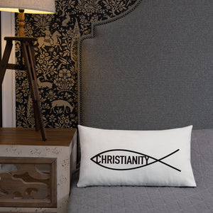 Christian Symbol Ichthy Fish With Christianity Text Black, Premium Pillow