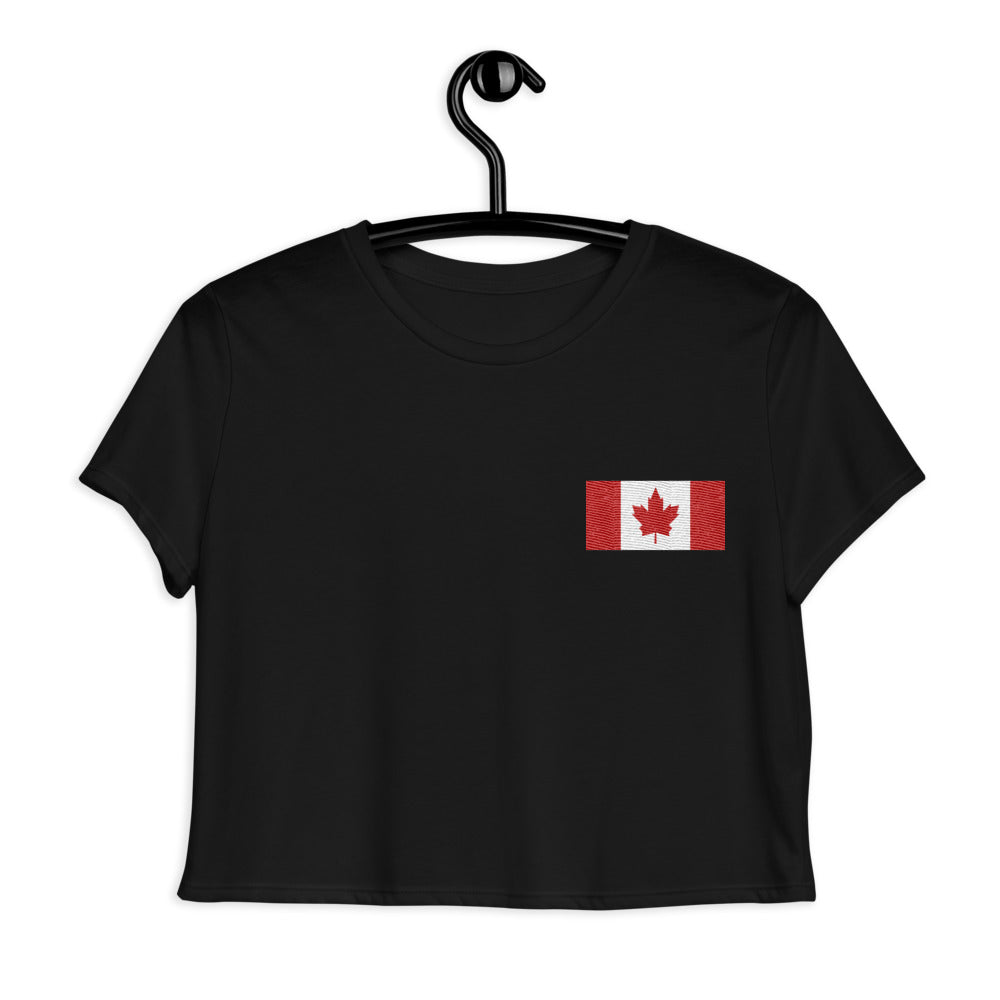 Flag of Canada, Embroidered Crop Tee Black