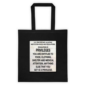 Alcatraz Prison Regulation Nr 5 Sign, Tote Bag Black