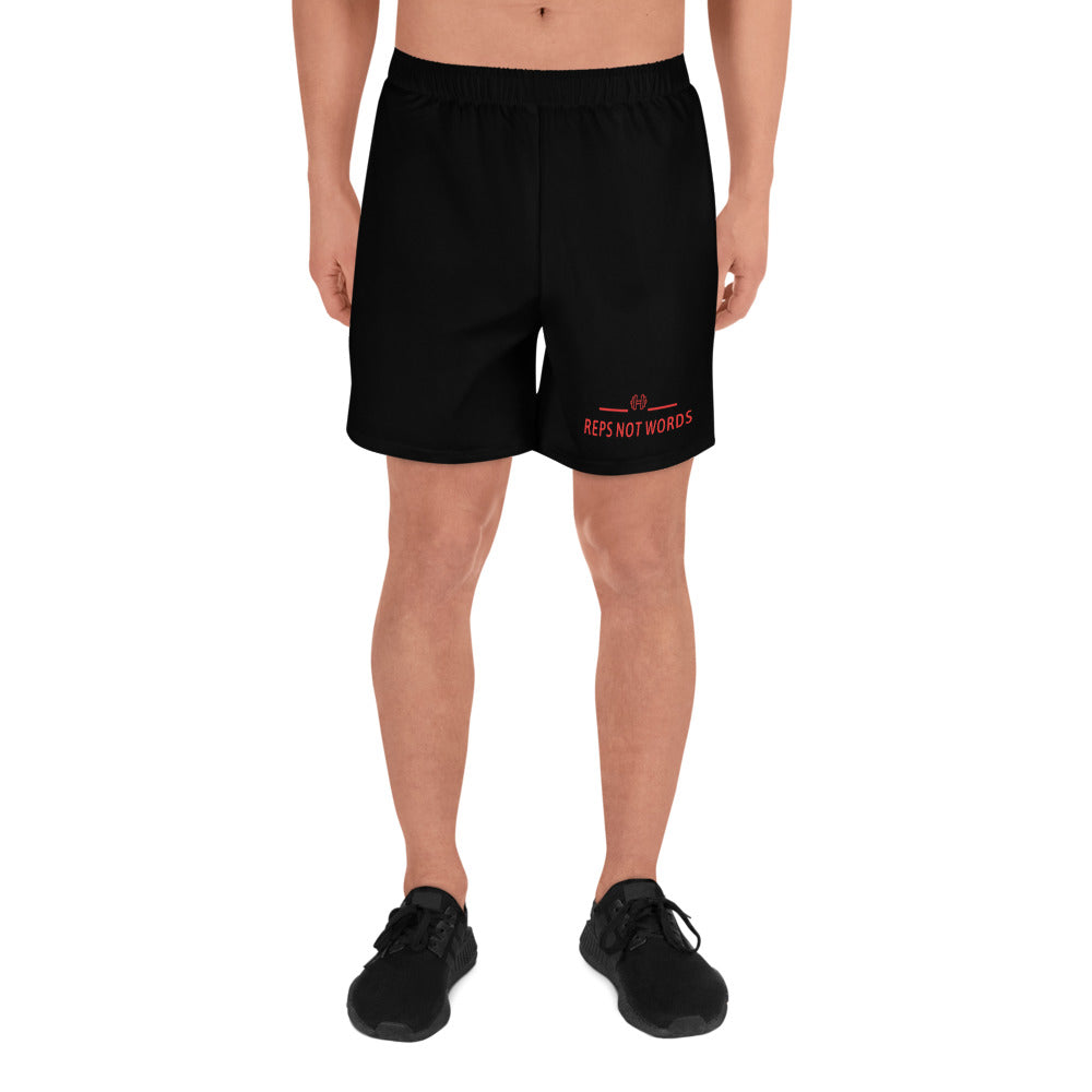 Reps Not Words Men's Athletic Long Shorts Black