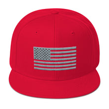 Load image into Gallery viewer, US Flag Gray and Black, Snapback Hat