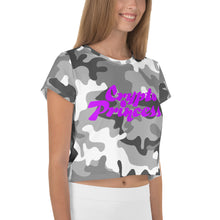 Load image into Gallery viewer, Crypto Princess, Crop Tee Camouflage