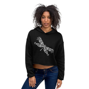 Dragonfly White Women's Cropped Hoodie