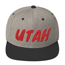 Load image into Gallery viewer, Utah Text Red 3D Puff, Snapback Hat