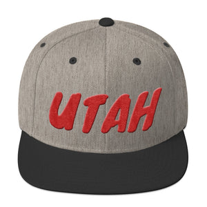 Utah Text Red 3D Puff, Snapback Hat