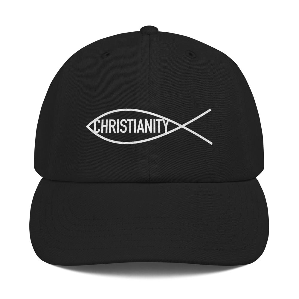 Religious Fish Symbol With Christianity Text, Dad Cap