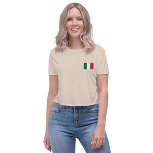 Flag of Italy, Embroidered Crop Tee