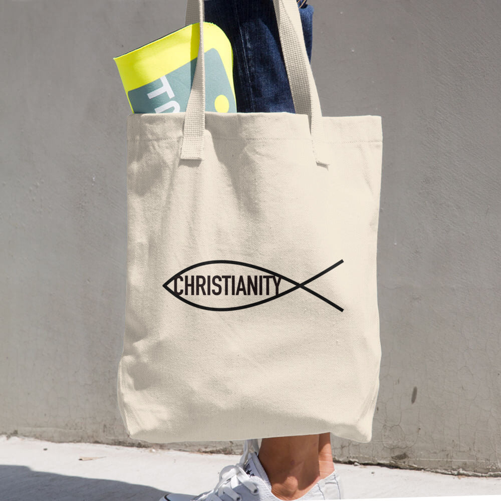 Christian Symbol Ichthy Fish With Christianity Text Black, Denim Cotton Tote Bag