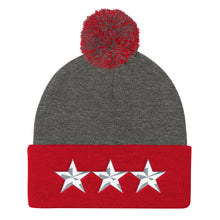 Load image into Gallery viewer, Army Style 3 Star General, Pom Pom Knit Cap