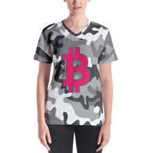 Load image into Gallery viewer, Bitcoin BTC Symbol 09 Hot Pink, Women's V-neck T-shirt Camouflage Front