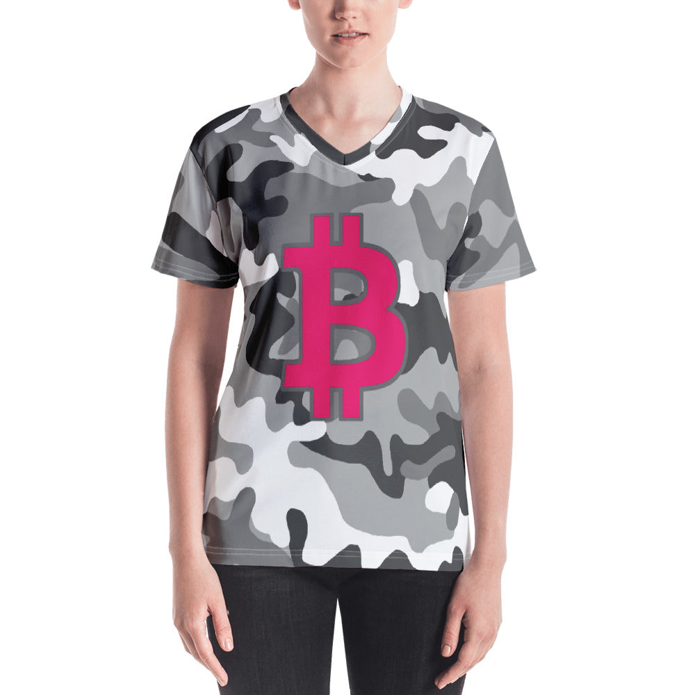 Bitcoin BTC Symbol 09 Hot Pink, Women's V-neck T-shirt Camouflage Front