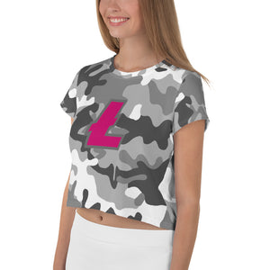 Litecoin LTC Cryptocurrency Symbol, Crop Tee Camouflage