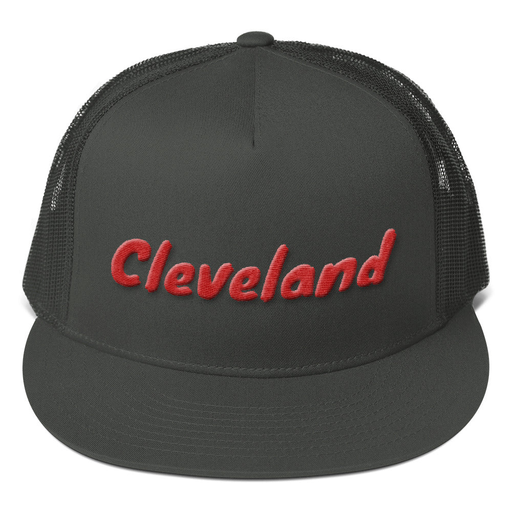 Cleveland Text Red 3D Puff, Mesh Back Snapback Hat CHARCOAL GRAY