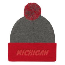 Load image into Gallery viewer, Michigan Tex Red, Pom Pom Knit Cap
